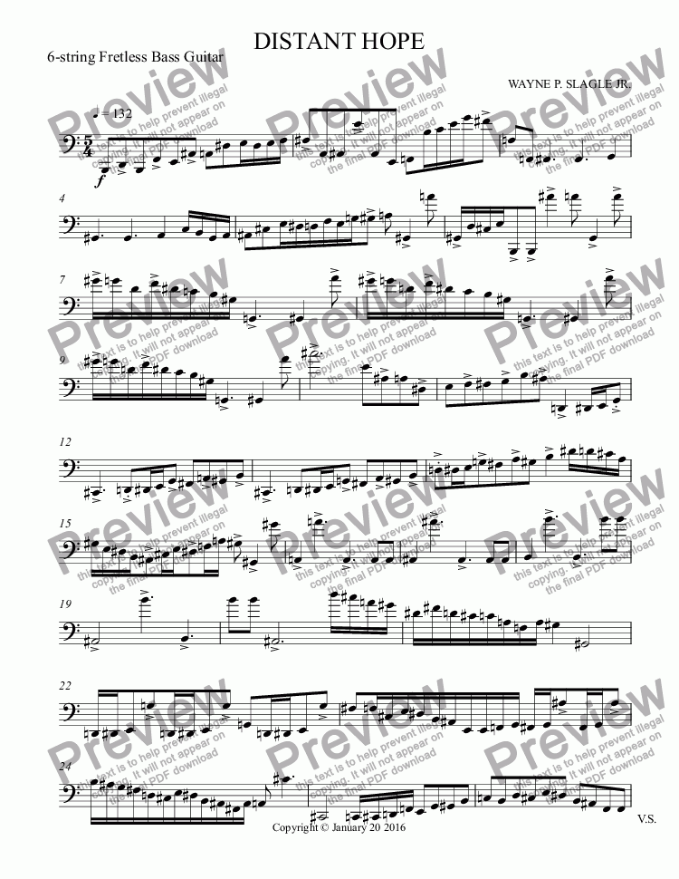 page one of the 6-string Fretless Bass Guitar part from DISTANT HOPE