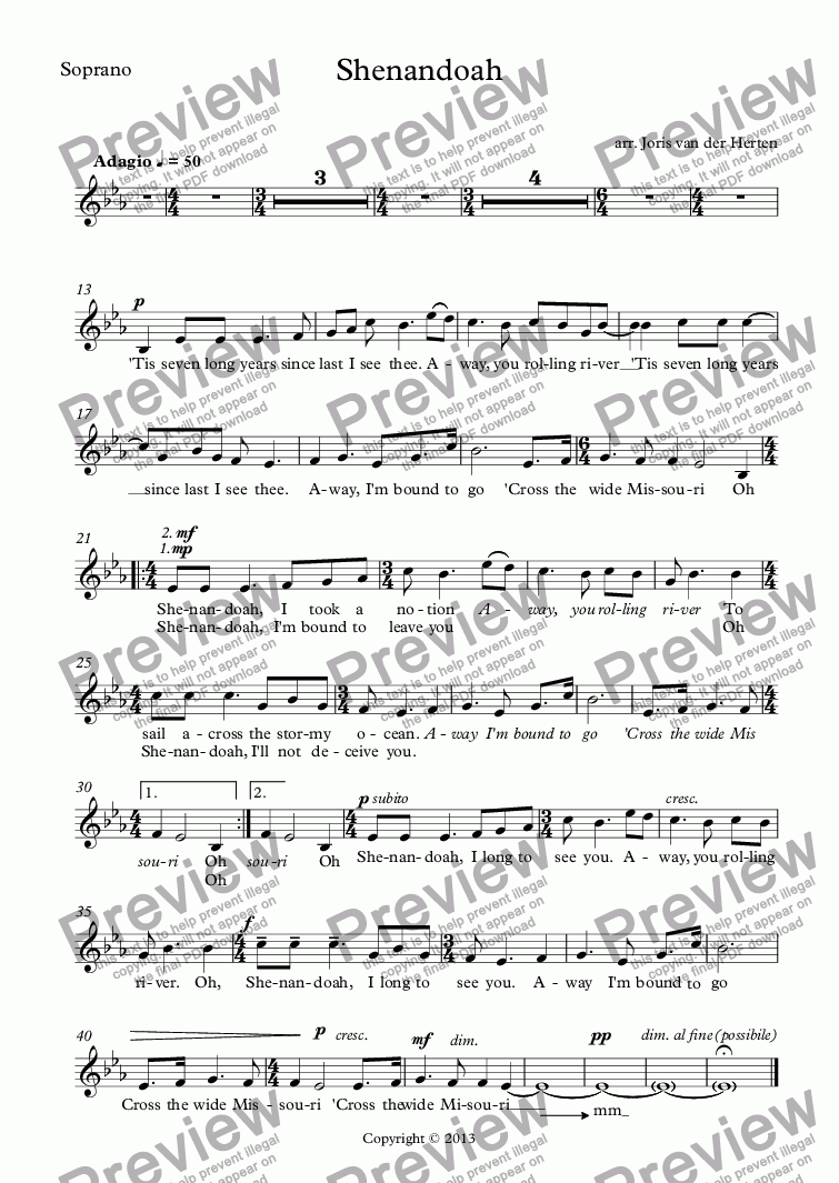 page one of the Soprano part from Shenandoah (voice+violin+keyboard)