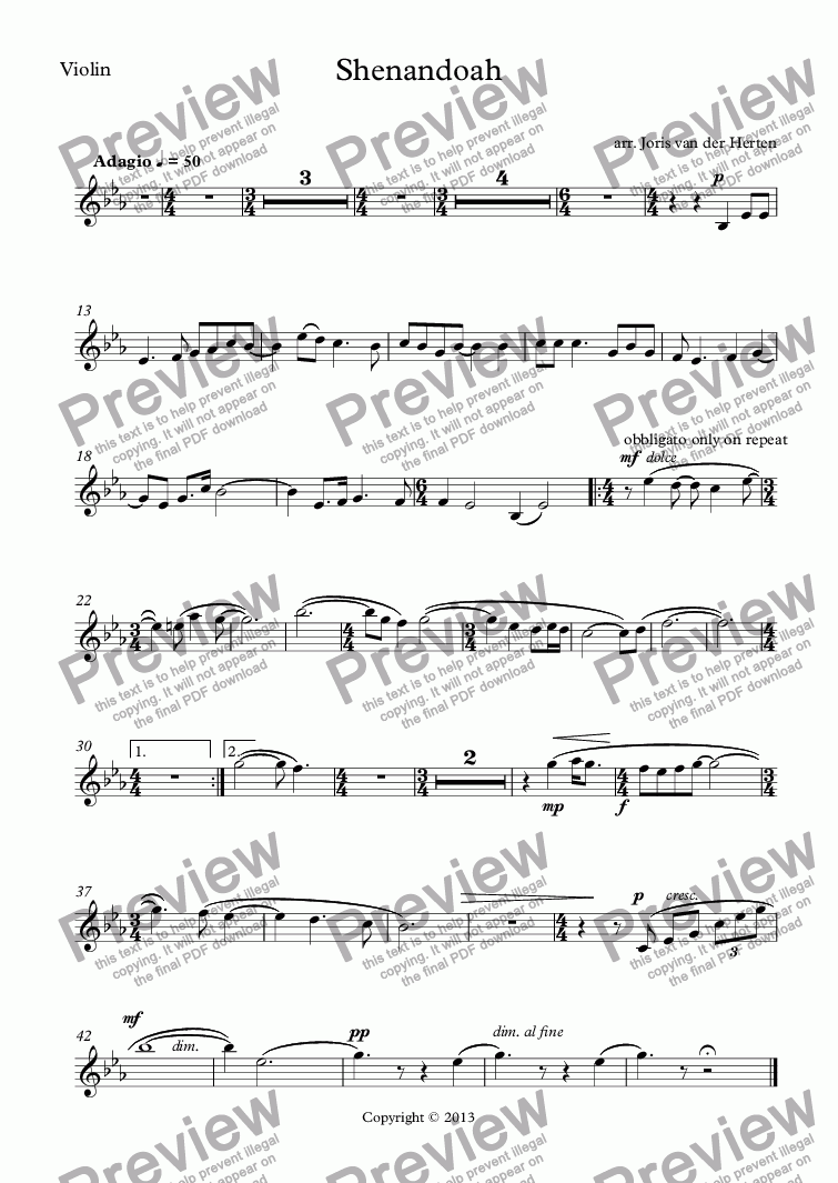 page one of the Violin part from Shenandoah (voice+violin+keyboard)