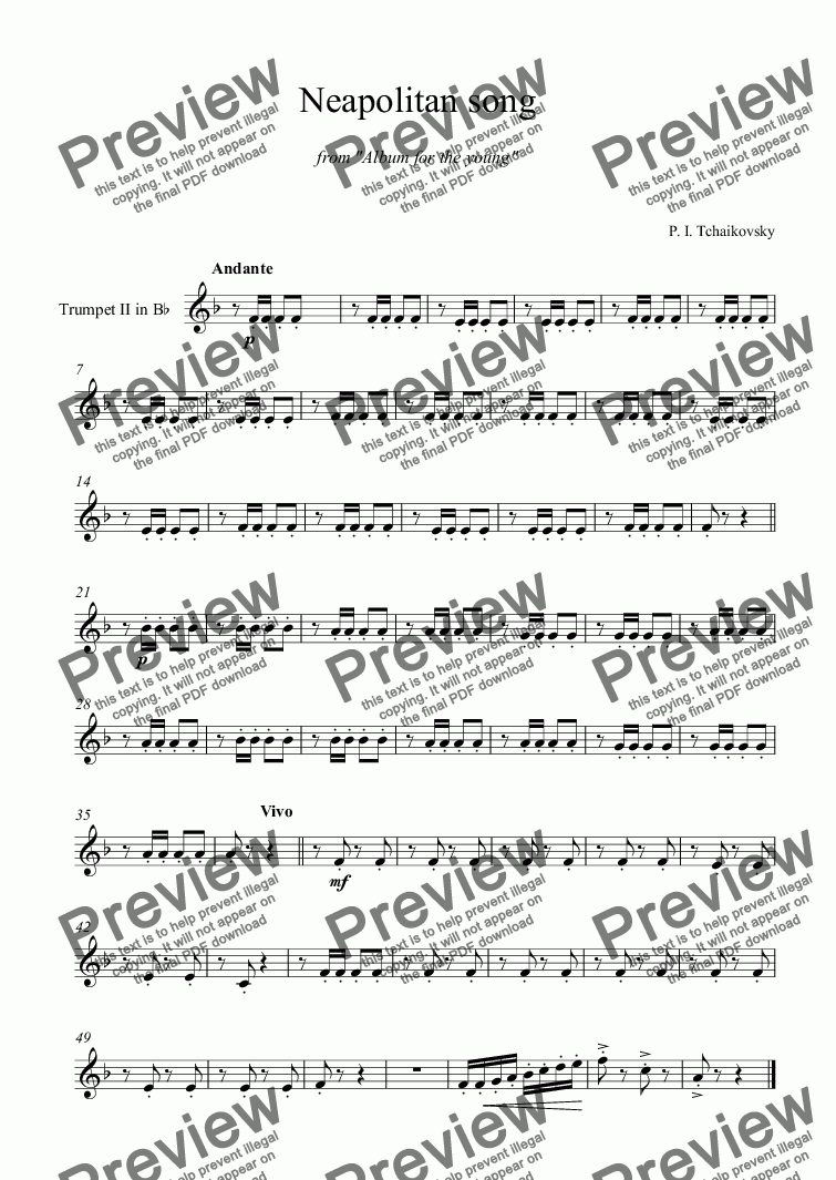 "page one of the Trumpet II in B^b part from Tchaikovsky - ''Neapolitan Song'' from ""Album for the young"""