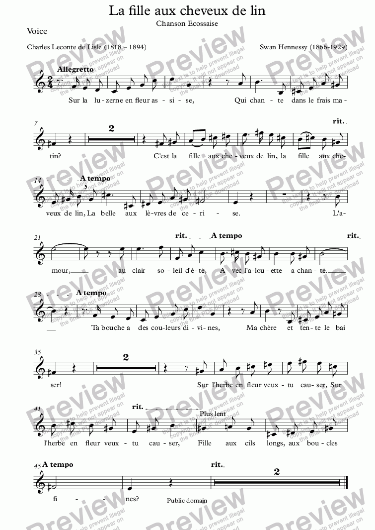 page one of the Voice part from La fille aux cheveux de lin (Swan Hennessy / Leconte de Lisle)