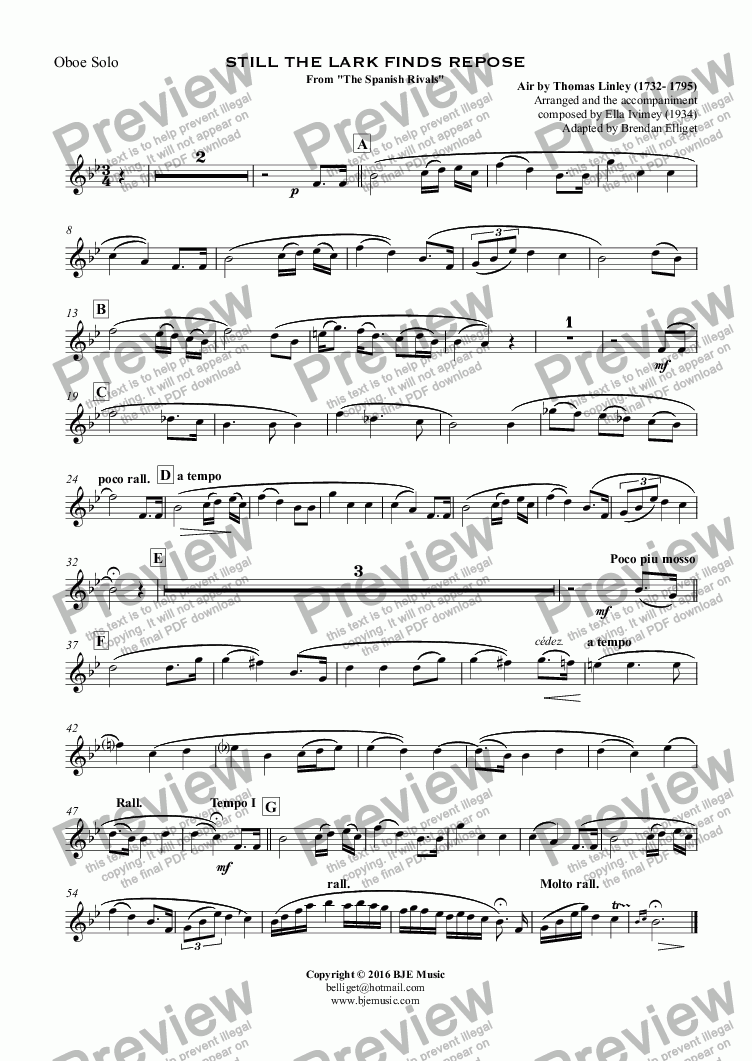 "page one of the Oboe Solo part from STILL THE LARK FINDS REPOSE From ""The Spanish Rivals"""
