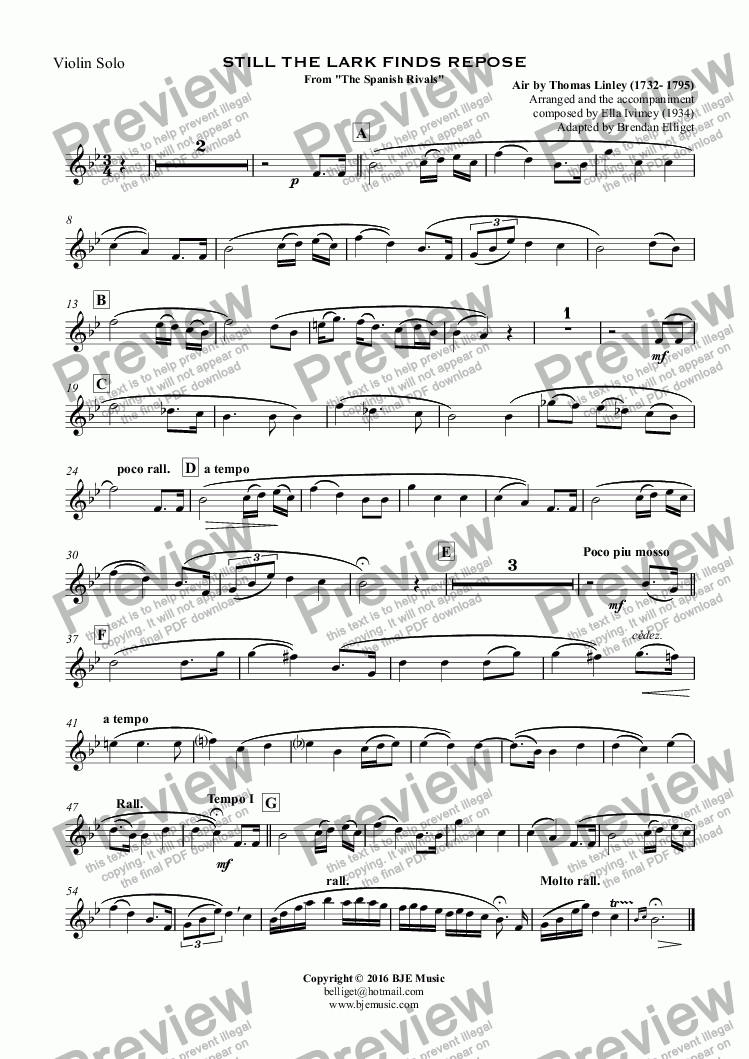 "page one of the Violin Solo part from STILL THE LARK FINDS REPOSE From ""The Spanish Rivals"""