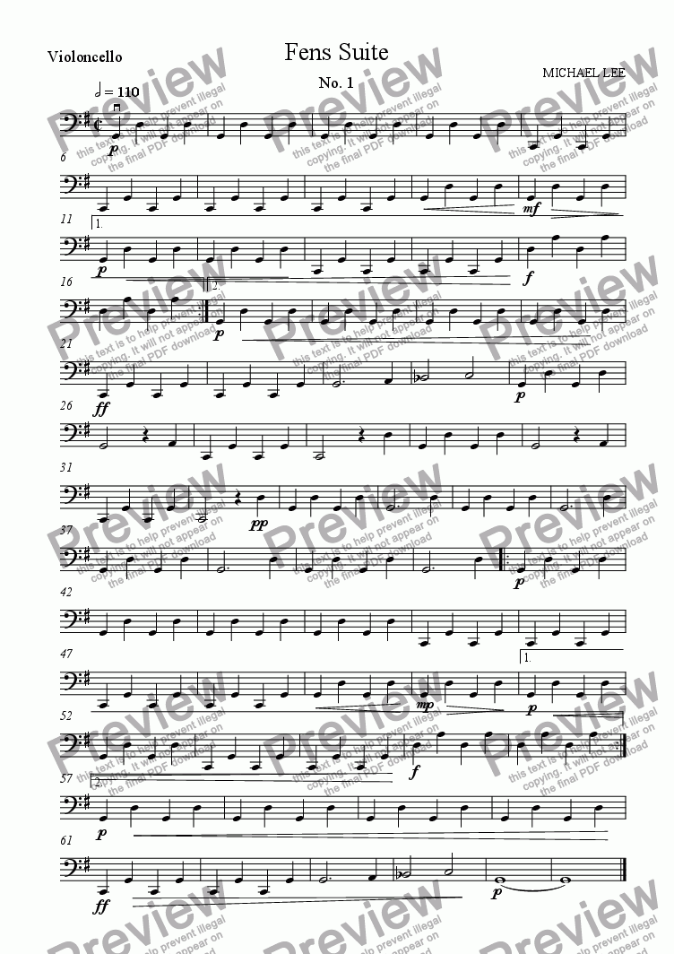 page one of the Violoncello part from Fens Suite