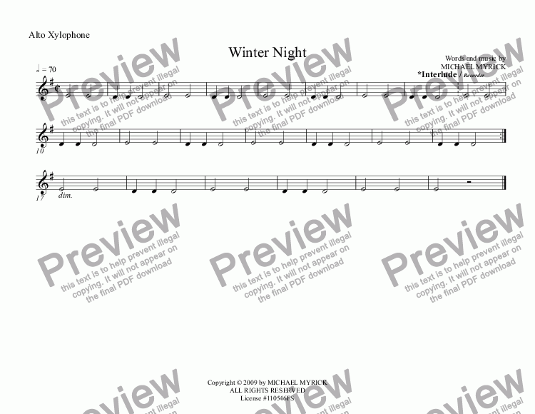page one of the Alto Xylophone part from Winter   Night