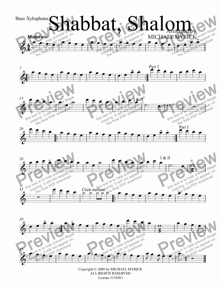 page one of the Bass Xylophone part from Shabbat, Shalom