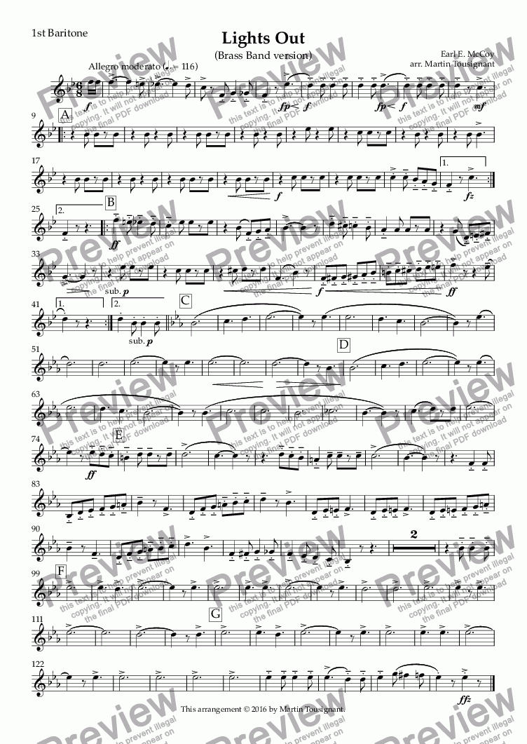 page one of the 1st Baritone part from Lights Out