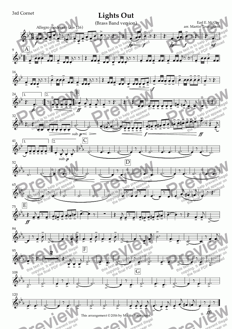 page one of the 3rd Cornet part from Lights Out