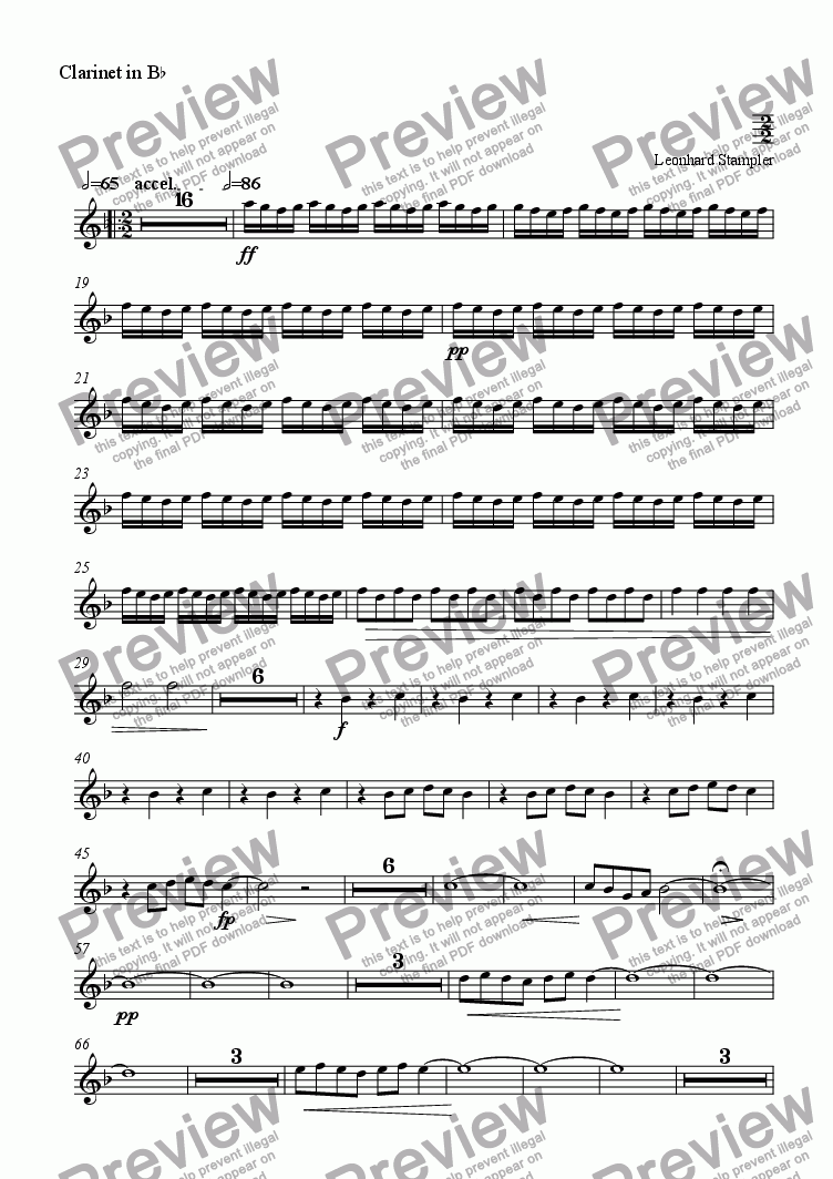 page one of the Clarinet 1 part from Inferno