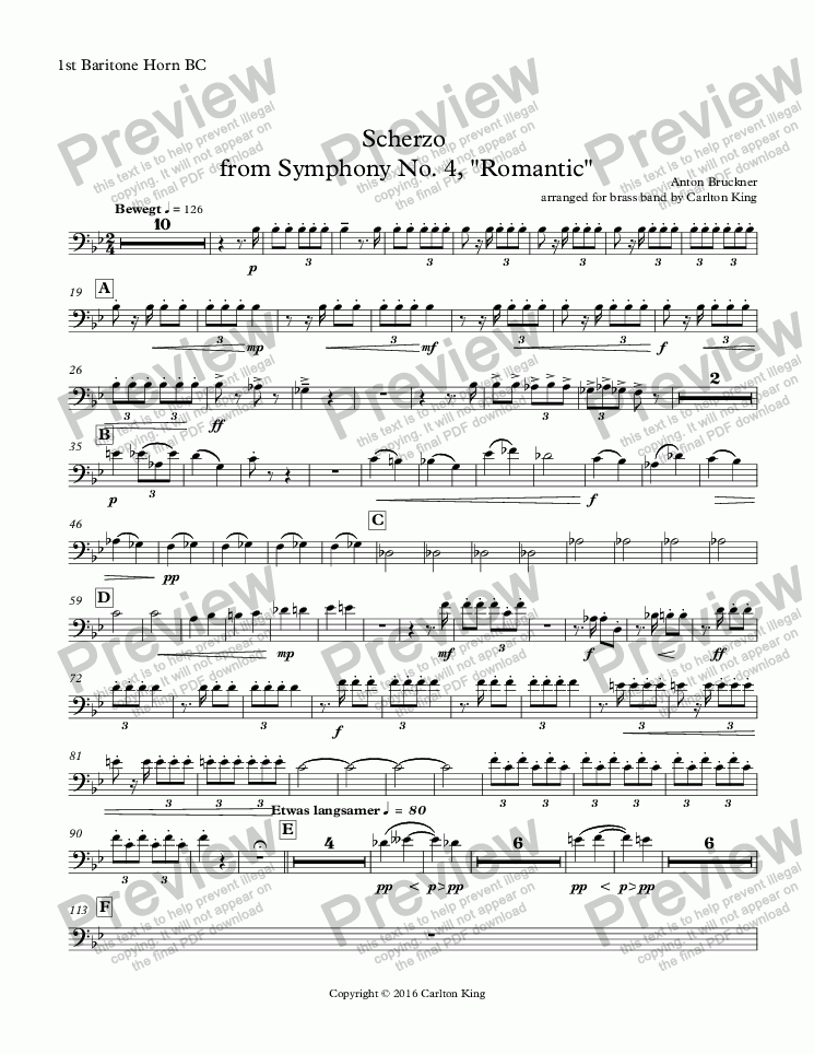 "page one of the 1st Baritone Horn BC part from Scherzo  from Symphony No. 4, ""Romantic"""
