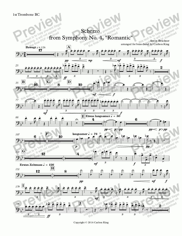 "page one of the 1st Trombone BC part from Scherzo  from Symphony No. 4, ""Romantic"""