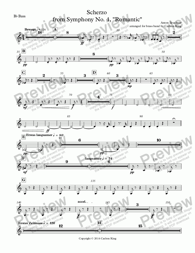 "page one of the B^b Bass part from Scherzo  from Symphony No. 4, ""Romantic"""