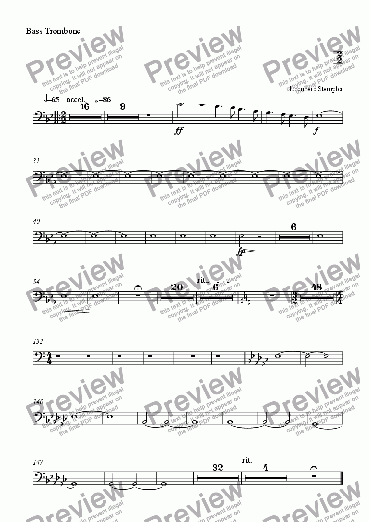 page one of the Bass Trombone part from Inferno