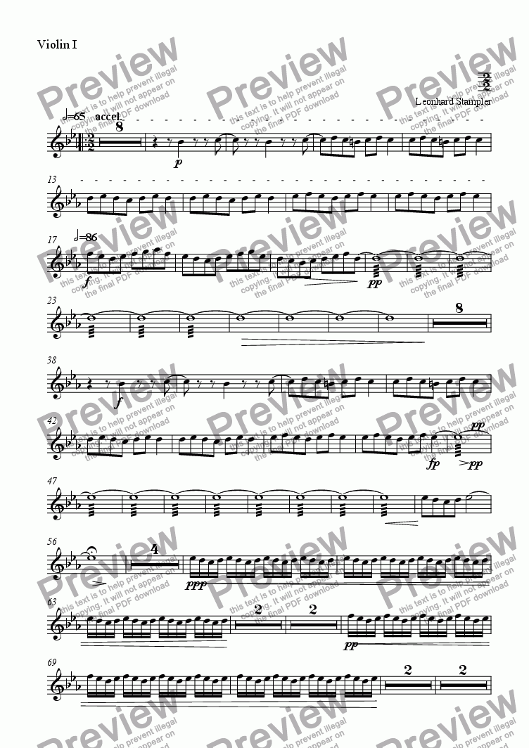 page one of the Violin I part from Inferno