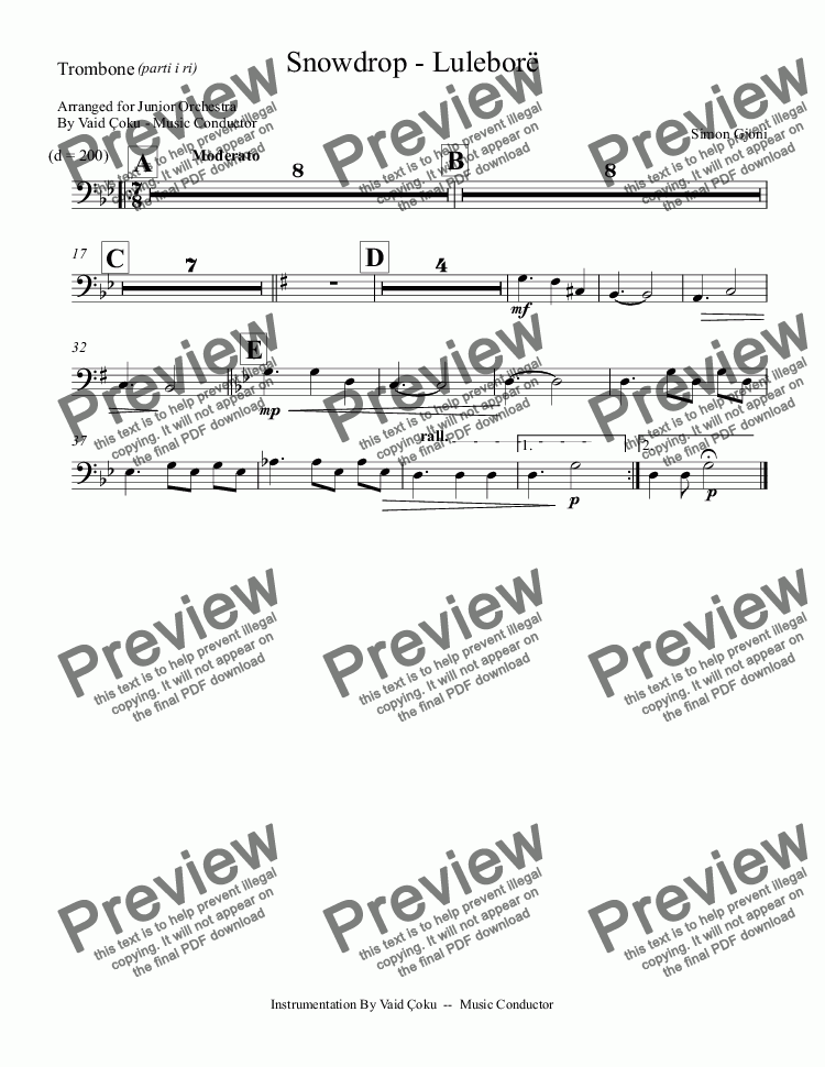 page one of the Trombone part from Snowdrop - Luleborë  - Arrangment for Junior Orchestra