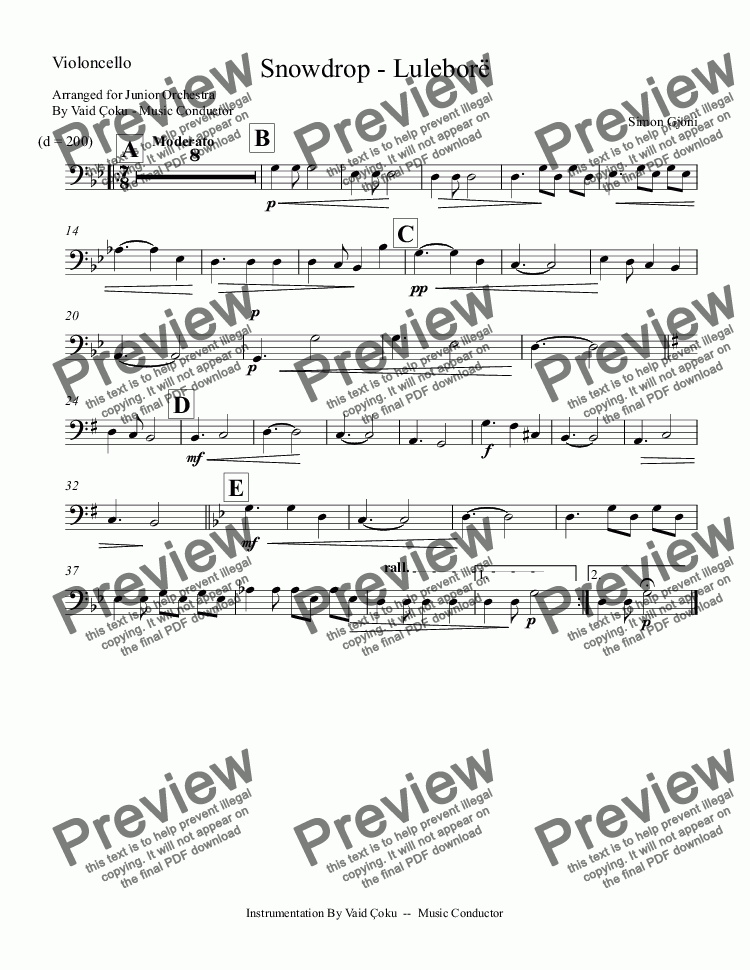 page one of the Violoncello part from Snowdrop - Luleborë  - Arrangment for Junior Orchestra