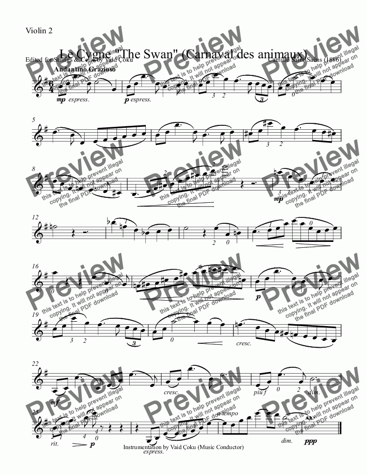 "page one of the Violin 2 part from Le Cygne ""The Swan"" - for Trio (Clarinette in Bb + 2 Violins ) & String's ensemble"