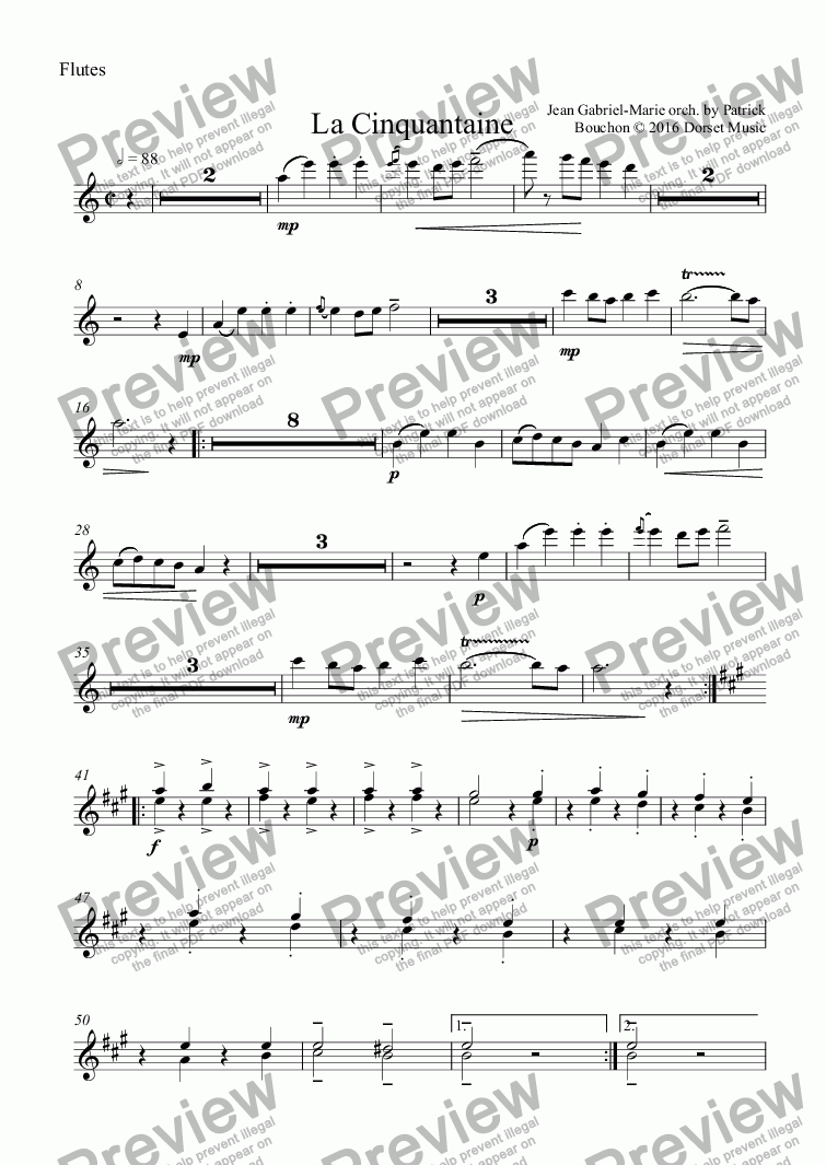 page one of the Flutes part from Jean-Gabriel Marie - La Cinquantaine