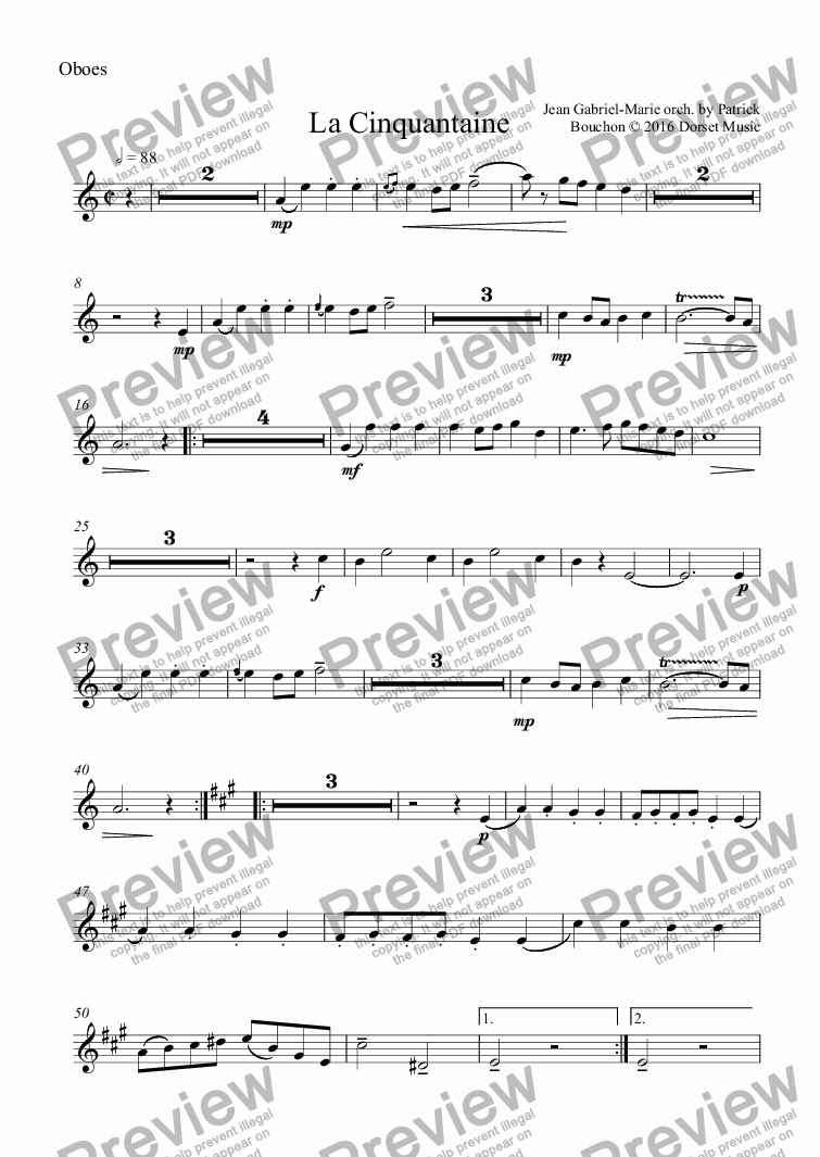 page one of the Oboes part from Jean-Gabriel Marie - La Cinquantaine