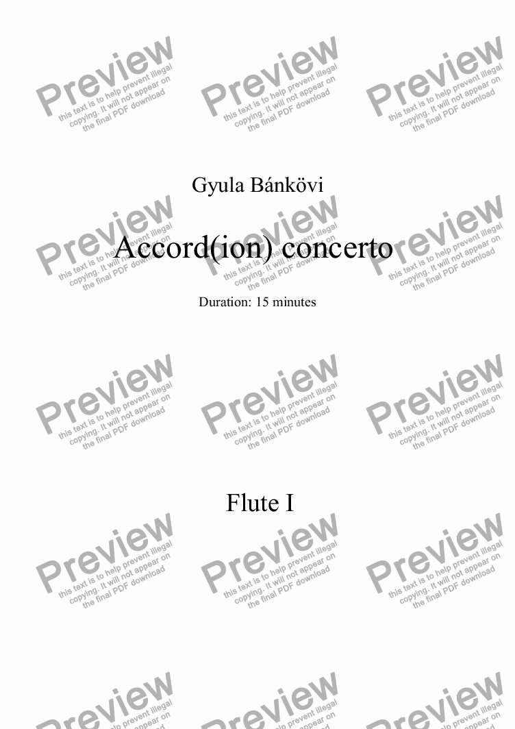page one of the Flute 1 part from Accord(ion) concerto