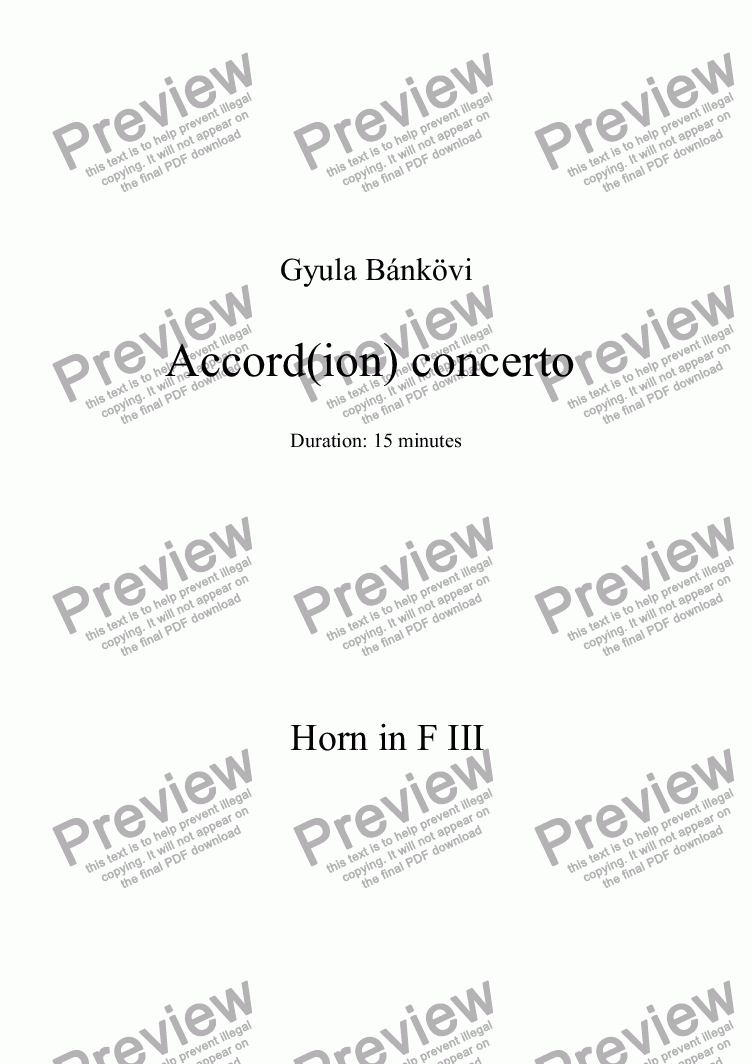 page one of the Horn in F 3 part from Accord(ion) concerto