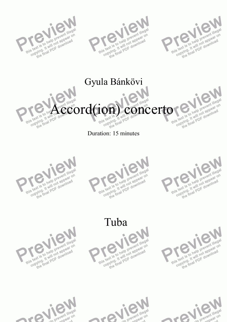 page one of the Tuba part from Accord(ion) concerto
