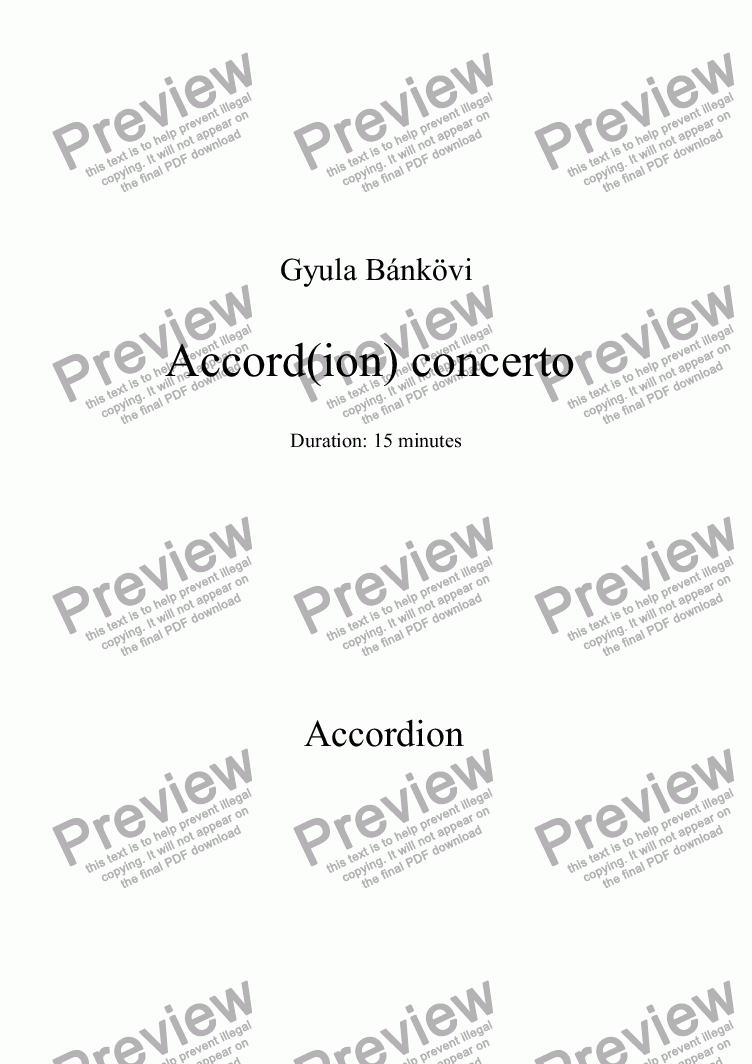page one of the Accordion solo part from Accord(ion) concerto