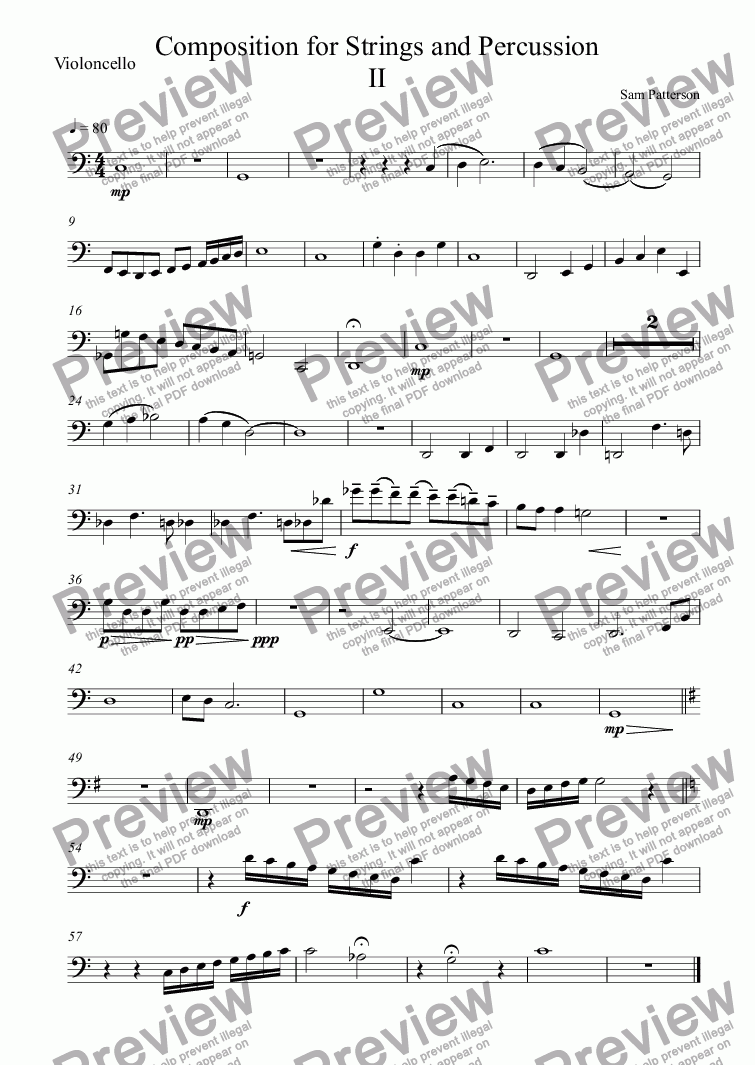 page one of the Violoncello part from Composition for Strings and Percussion II