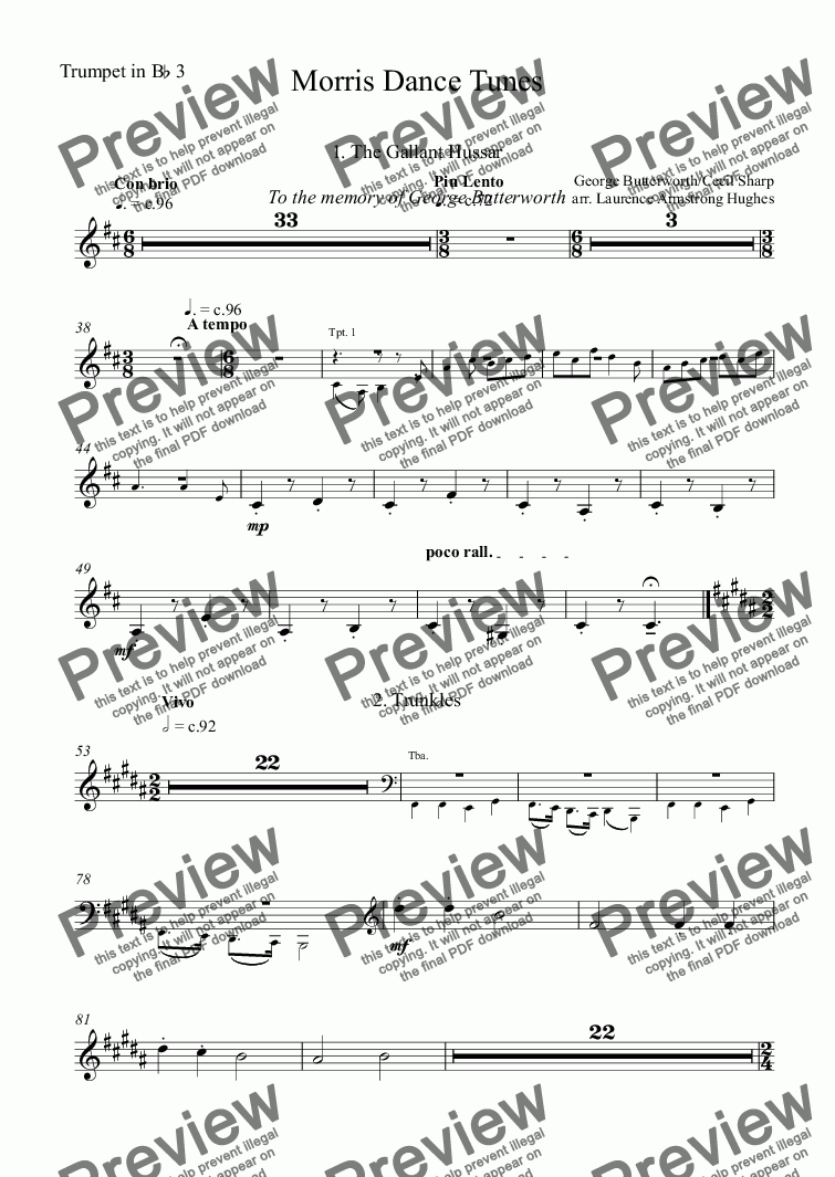 page one of the Trumpet in B^b 3 part from Morris Dance Tunes
