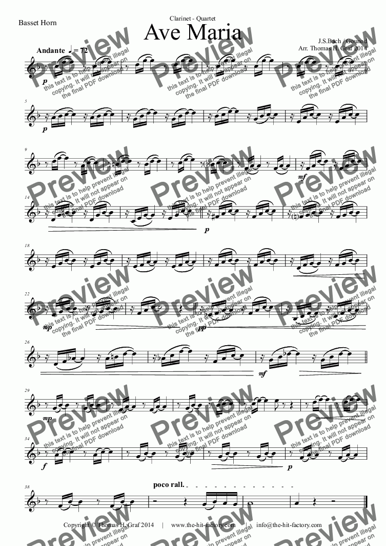 page one of the Basset Horn part from Ave Maria - Bach/Gounot - Clarinet Quartet