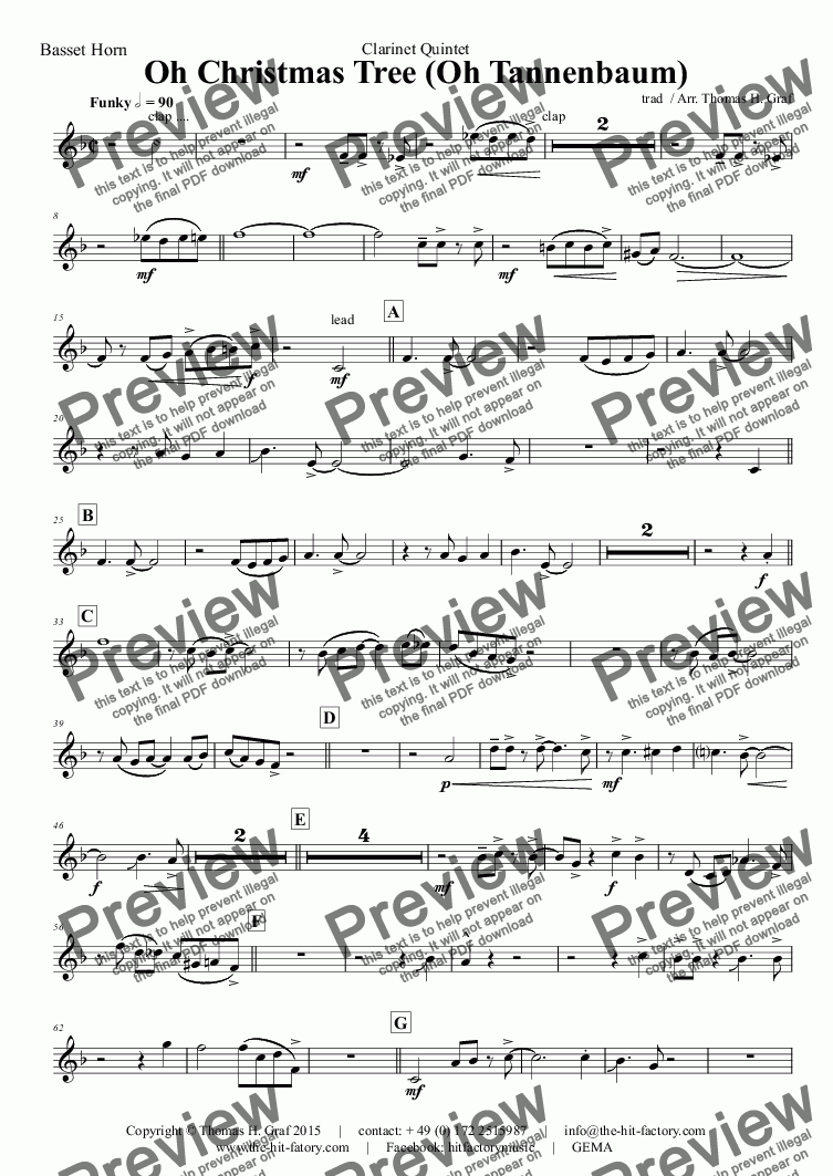 page one of the Basset Horn part from Oh Christmas tree - Oh Tannenbaum - Funky - Clarinet Quintet