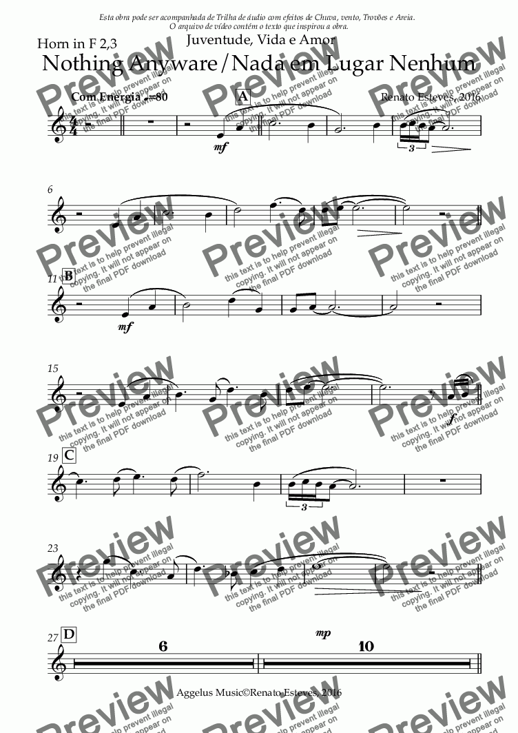 page one of the Horn in F 2,3 part from Nothing Anyware/Nada em Lugar Nenhum