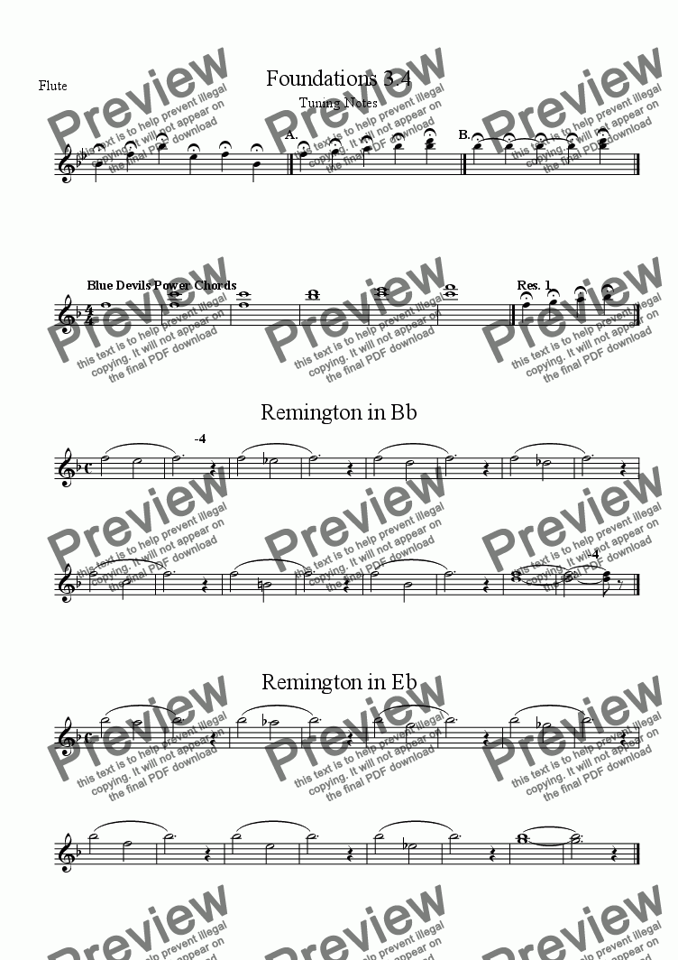 page one of the Flute part from Warm ups Warmups for Middle School Band