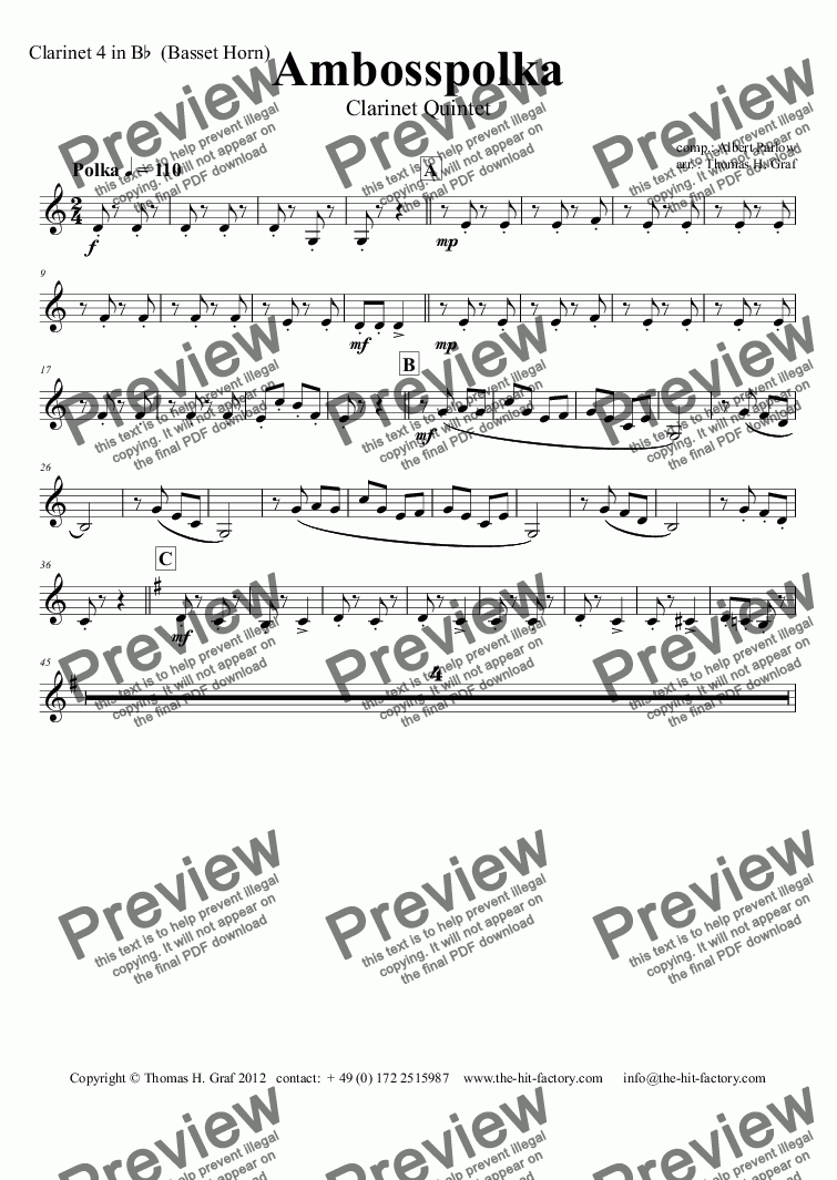 page one of the Clarinet 4 in B^b^ (Basset Horn) part from Amboss-Polka - German Polka - Oktoberfest - Clarinet Quintet