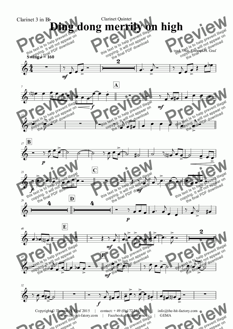 page one of the Clarinet 3 in B^b part from Ding dong merrily on high - Swing - Clarinet Quintet