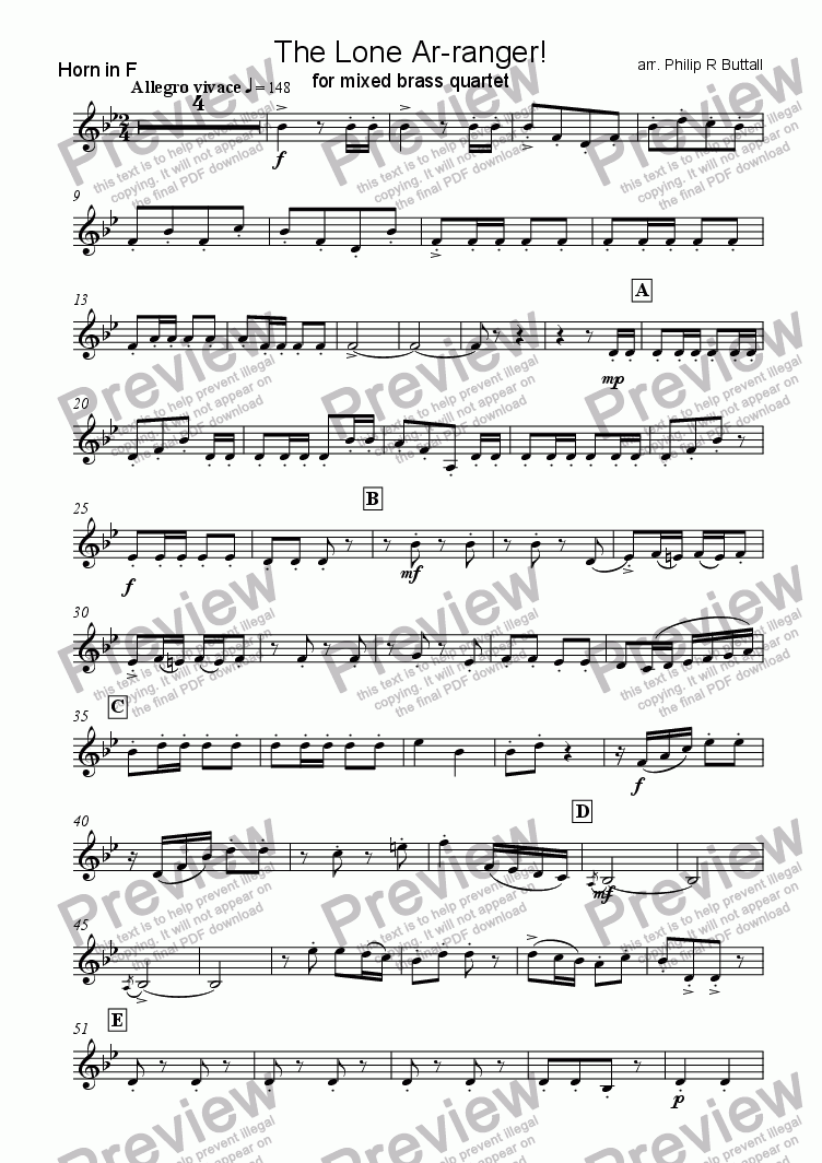 page one of the Part 3 (Horn in F) part from The Lone Ar-ranger! (Brass Quartet)