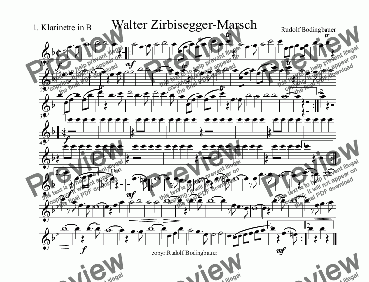 page one of the 1.Klarinette in B part from Walter Zirbisegger-Marsch