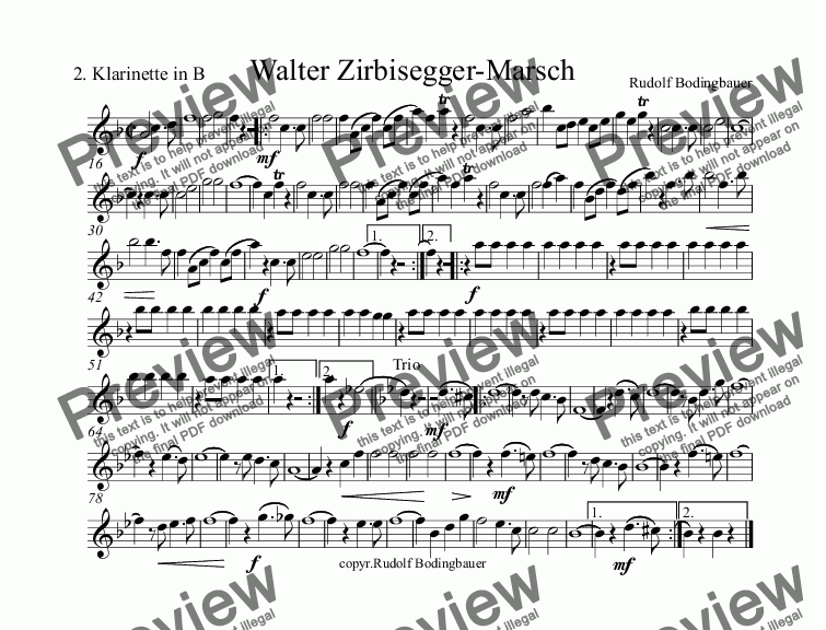 page one of the 2.Klarinette in B part from Walter Zirbisegger-Marsch