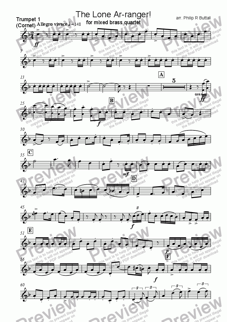 page one of the Trumpet / Cornet 1 part from The Lone Ar-ranger! (Brass Quartet)