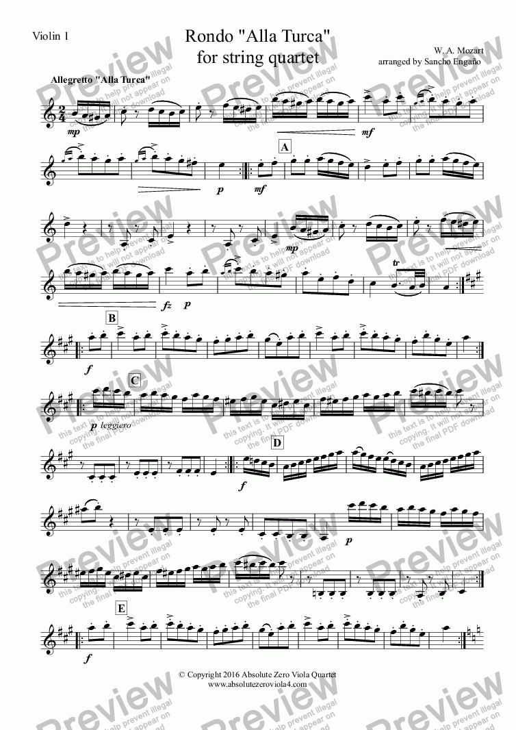"page one of the Violin 1 part from Mozart - RONDO ""ALLA TURCA"" for string quartet"