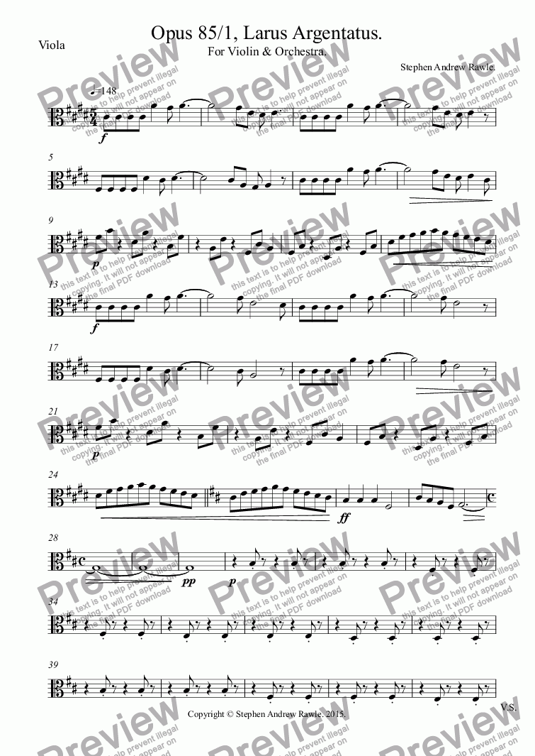 page one of the Viola part from Opus 85/1, Larus Argentatus, for violin and orchestra,