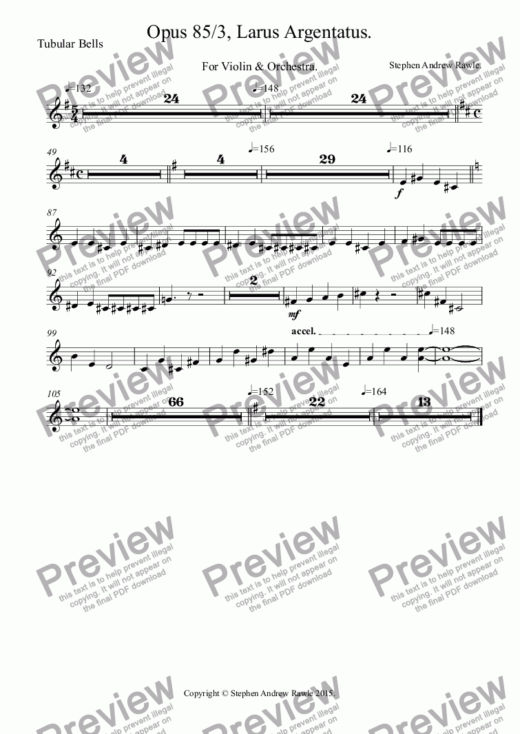 page one of the Tubular Bells part from Opus 85/3, Larus Argentatus, for violin and orchestra.