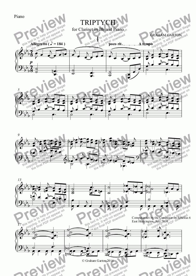 page one of the Piano part from INSTRUMENTAL SCORE FOR TRIPTYCH 1 Allegretto For CLARINET IN Bb and Piano Revised Edition