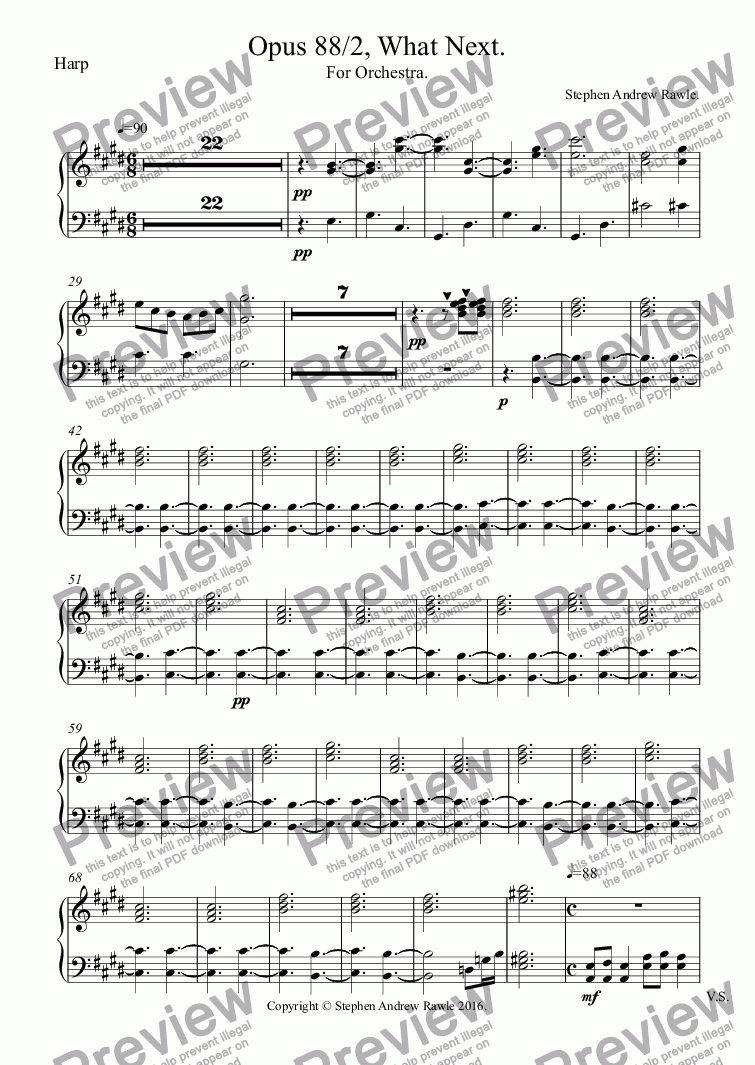 page one of the Harp part from Opus 88/2, What Next.