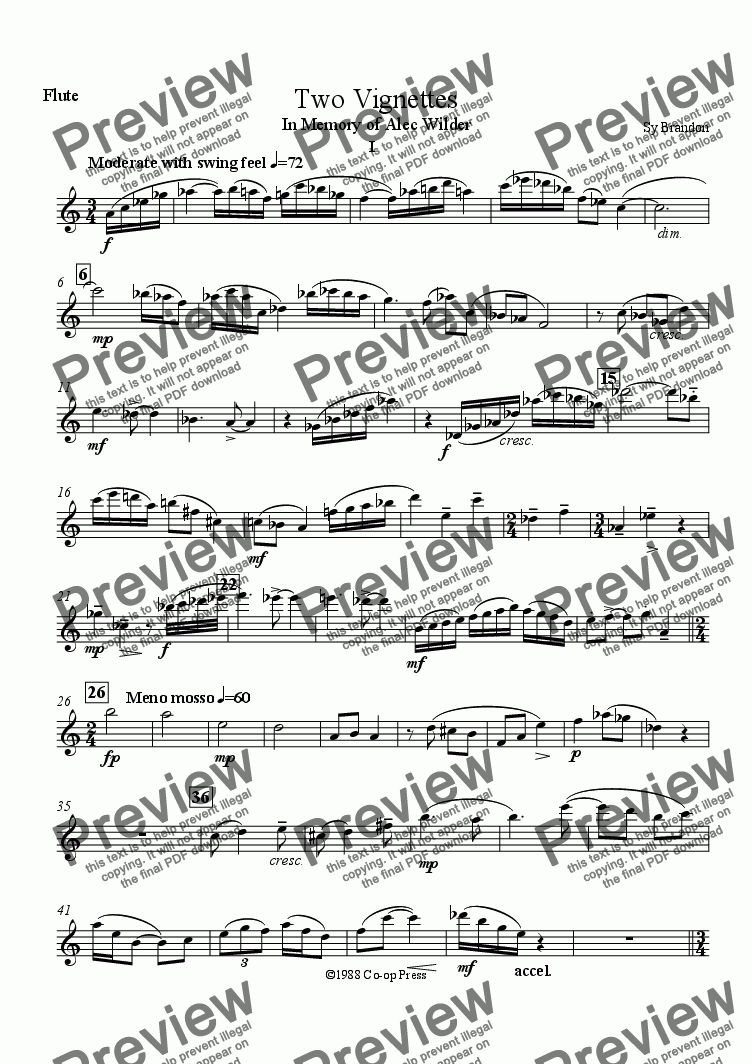 page one of the Flute part from Two Vignettes for Solo Alto Saxophone & Wind Trio