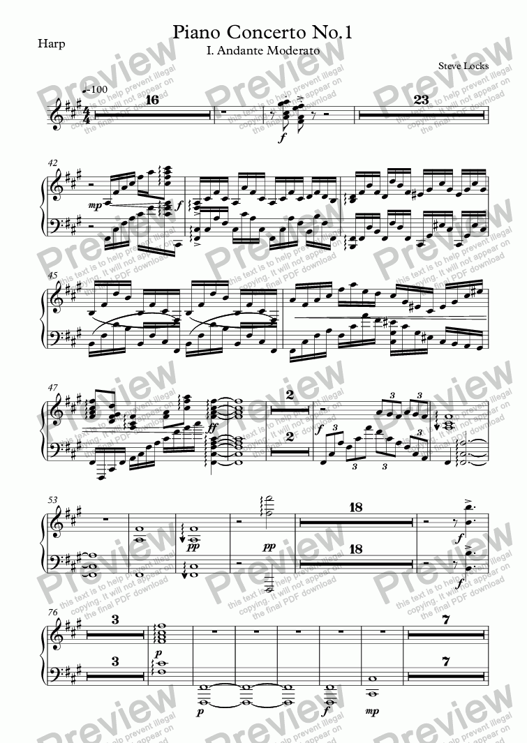 page one of the Harp part from Piano Concerto No.1 - 1st Mvmt.