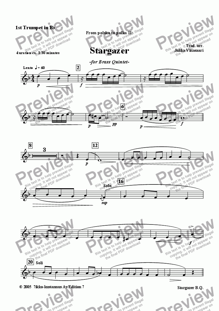 page one of the Trumpet 1 in Bb part from Stargazer (brass quintet)