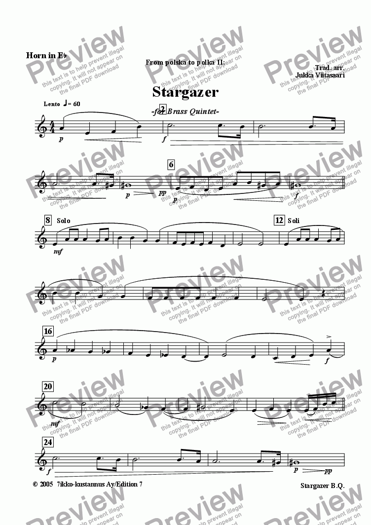 page one of the Horn in Eb part from Stargazer (brass quintet)