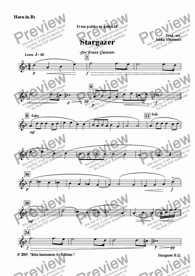 page one of the Horn in Bb part from Stargazer (brass quintet)