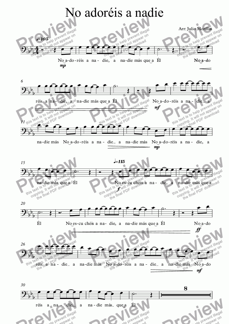 page one of the Violonchelo part from No adoréis a nadie